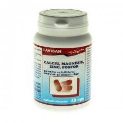 Calciu, Magneziu, Zinc, Fosfor Favisan, 40 capsule
